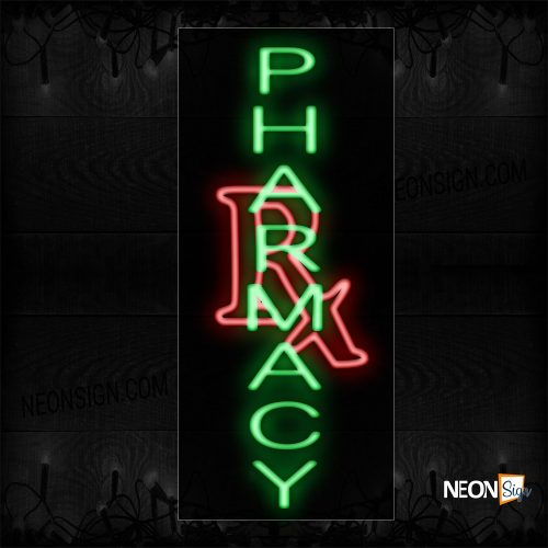 Image of 11015 Pharmacy With Rx Sign Neon Sign_13x32 Black Backing