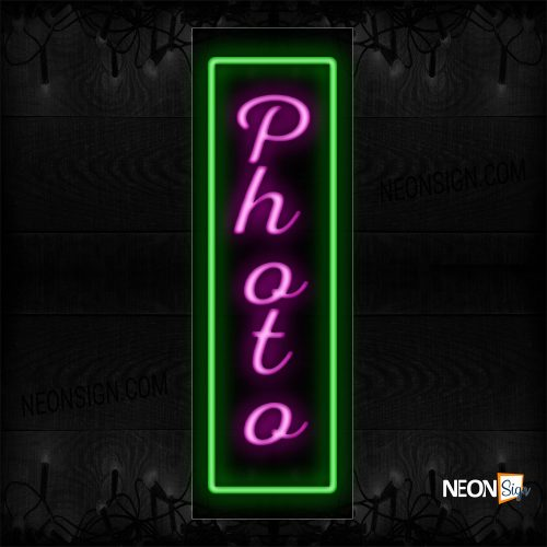 Image of 11016 Photo with green border vertical neon sign_13x32 Black Backing