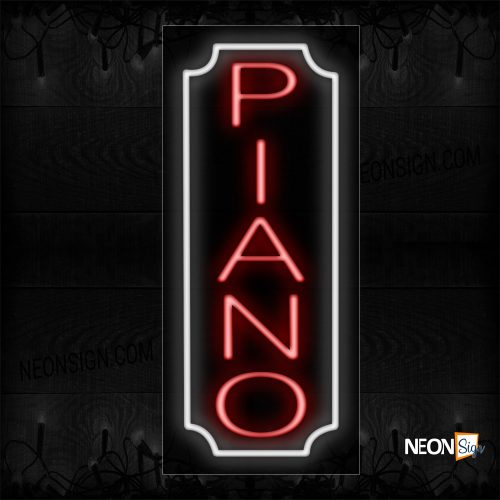 Image of 11018 Piano In Red With White Border (Vertical) Neon Sign_13x32 Black Backing