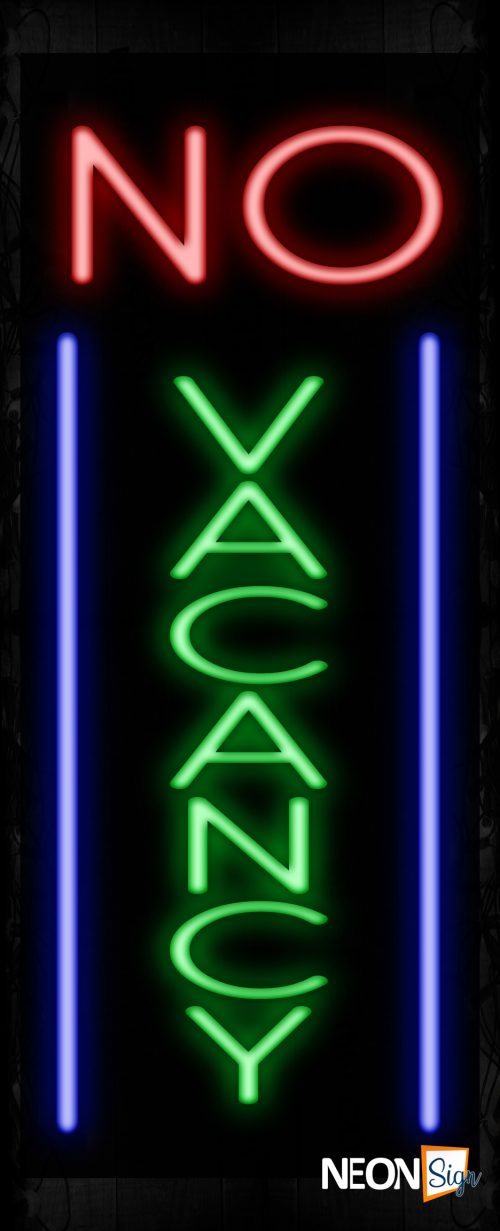 Image of 11035 No Vacancy with vertical borderline Neon Sign_32 x12 Black Backing