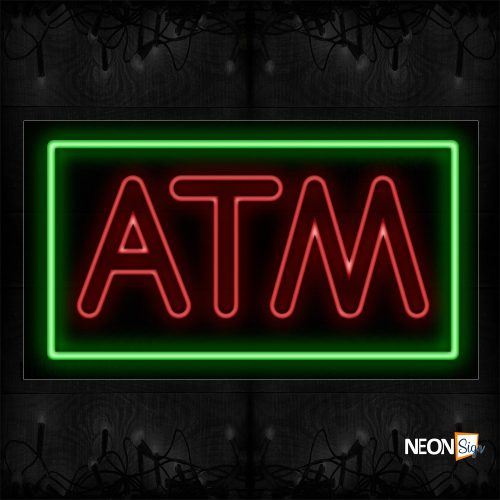 Image of 11046 Atm With Border Neon Sign- Vertical_20x37 Black Backing