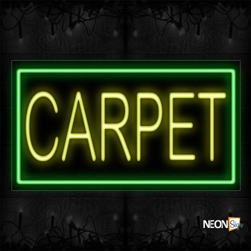 Image of 11059 Carpet In Yellow With Green Border Neon Sign_20x37 Black Backing