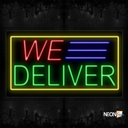 Image of 11068 We Delivery with Blue Lines And Yellow Border Neon Signs_20x37 Black Backing
