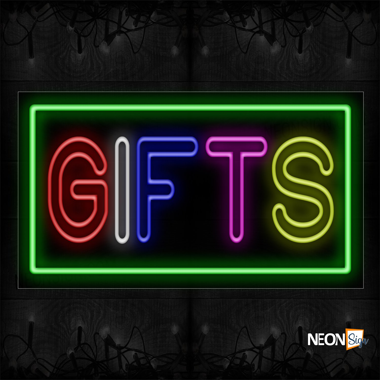 Image of 11078 Double Stroke Colorful Gifts With Green Border Neon Sign_20x37 Black Backing
