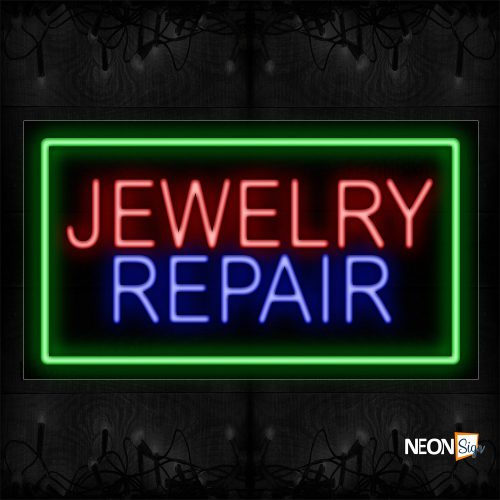 Image of 11085 Jewelry Repair With Green Border Neon Sign_20x37 Black Backing
