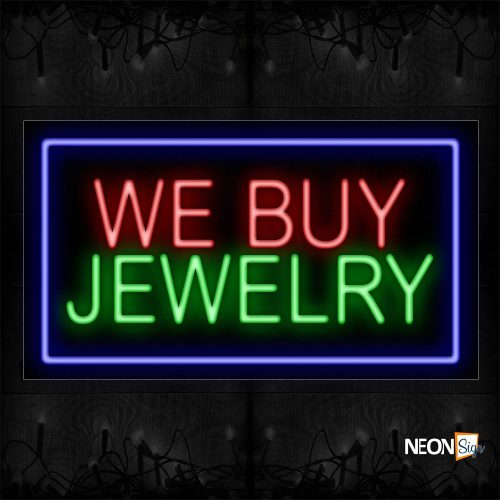 Image of 11086 We By Jewelry With Blue Border Neon Sign_20x37 Black Backing