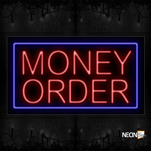Image of 11094 Money Order With Blue Border Traditional Neon_20x37 Black Backing