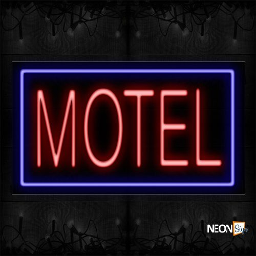 Image of 11096 Motel In Red And Blue Border Neon Sign_20x37 Black Backing