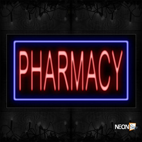 Image of 11108 Pharmacy With Blue Border Neon Sign_20x37 Black Backing