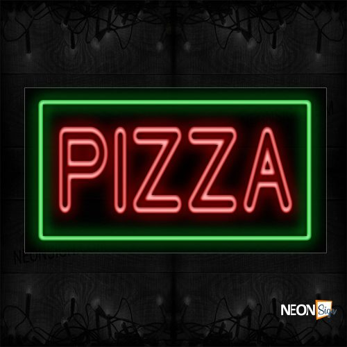Image of 11109 Double Stroke Pizza In Red With Green Border Neon Sign_20x37 Black Backing