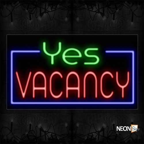 Image of 11122 Yes Vacancy With Blue Border Neon Sign_20x37 Black Backing