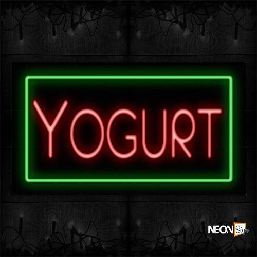 Image of 11124 Yogurt With Border Neon Signs_20x37 Black Backing