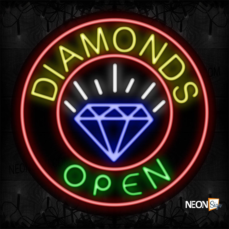 Image of 11137 Diamonds Open With Circle Border & Diamond Logo Neon Sign_26x26 Black Backing