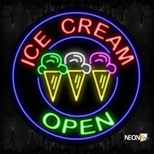 Image of 11150 Ice Cream Open With Blue Circle Border With Logo Neon Signs_26x26 Contoured Black Backing