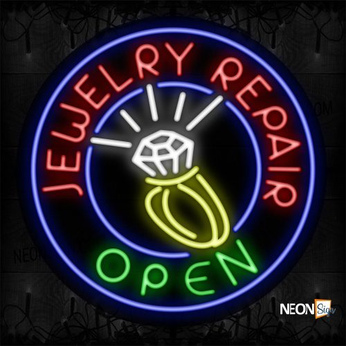 Image of 11153 Jewelry Repair Open With Logo And Blue Circle Border Neon Sign_26x26 Black Backing