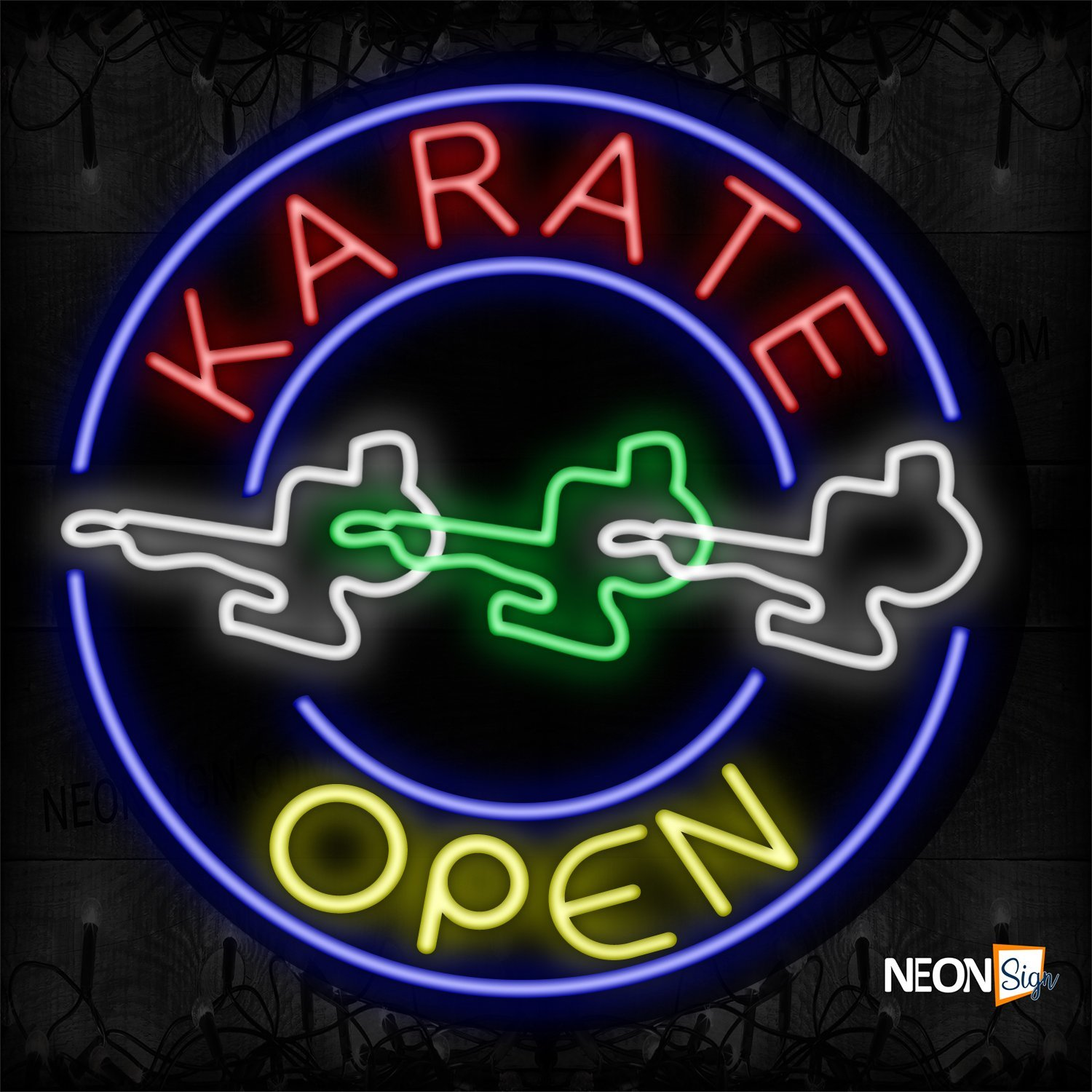 Image of 11154 Karate Open With Circle Border & Logo Neon Sign_26x326 Contoured Black Backing