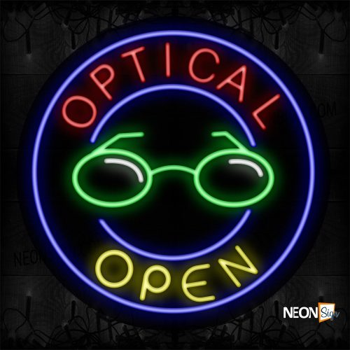 Image of 11157 Optical Open With Circle Border Neon Sign_26x26 Contoured Black Backing