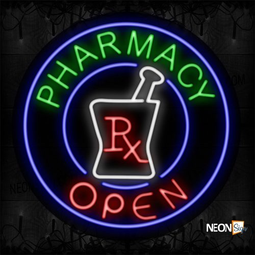 Image of 11160 Pharmacy Open With Circle Border Neon Sign_26x26 Contoured Black Backing