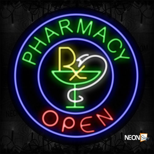Image of 11161 Pharmacy Open and Logo And Blue Circle Border Neon Sign_26x26 Contoured Black Backing