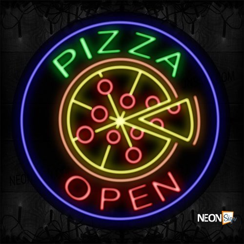 Image of 11162 Pizza Open With Pizza Logo Neon Sign_26x26 Contoured Black Backing