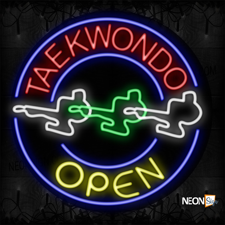 Image of 11167 Taekwondo Open With Circle Border And Logo Neon Sign_26x326 Contoured Black Backing