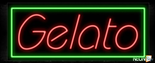 Image of 11193 Gelato With Green Outline Box Traditional Neon_13x32 Black Backing