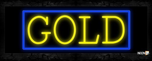Image of 11194 Gold in yellow with blue border Neon Sign 13x32 Black Backing
