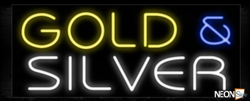 Image of 11197 Gold & Silver Neon Sign_13x32 Black Backing