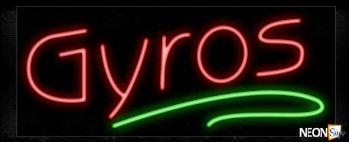 Image of 11198 Gyros with green line Neon Sign_13x32 Black Backing