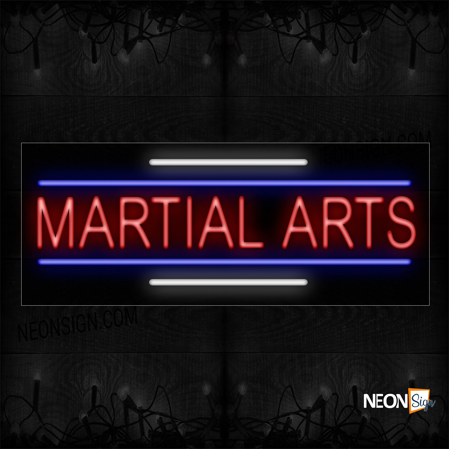 Image of 11206 Martial Arts In Red With Blue And White Lines Neon Sign_13x32 Black Backing