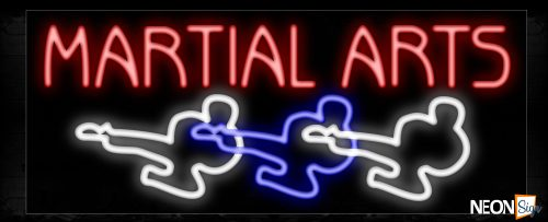 Image of 11207 Martial Arts with logo Neon Sign_13x32 Black Backing