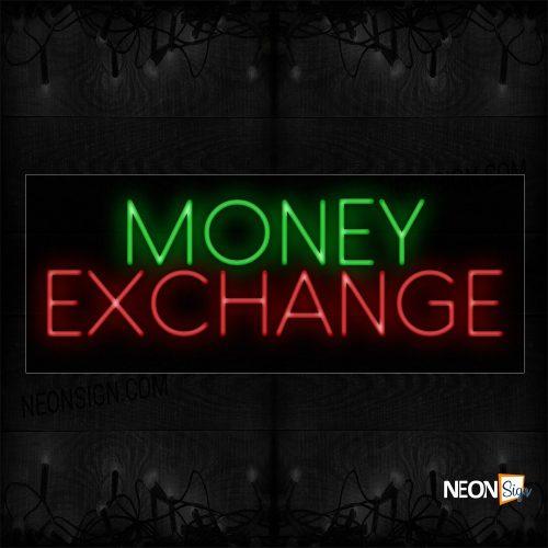 Image of 11209 Money Exchange Neon Sign_13x32 Black Backing