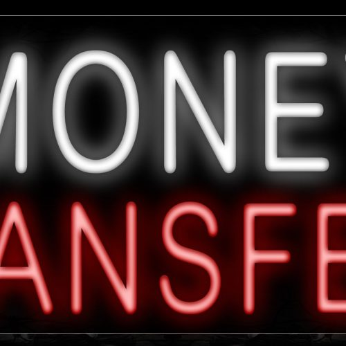 Image of 11210 Money Transfers with dollar sign logo Neon Sign_13x32 Black Backing