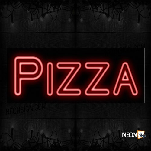 Image of 11214 Double Stroke Pizza In Red Neon Sign_13x32 Black Backing