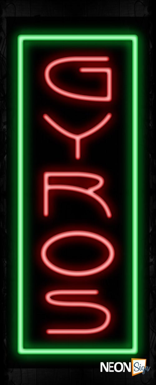 Image of 11234 Gyros in red with green border (Vertical) Neon Signs_32 x12 Black Backing