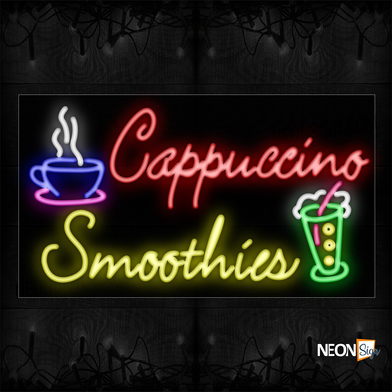 Image of 11274 Cappuccino Smoothies With Cup Neon Signs_20x37 Black Backing