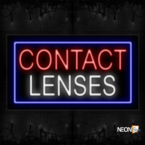 Image of 11280 Contact Lenses With Border Neon Sign_20x37 Black Backing