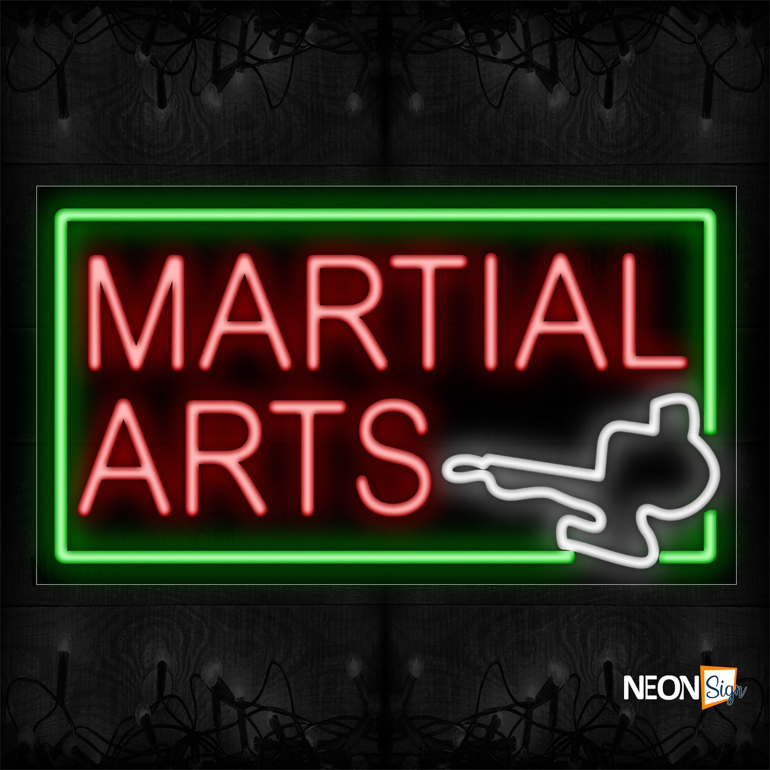 Image of 11293 Martial Arts With Logo And Green Border_20x37 Black Backing