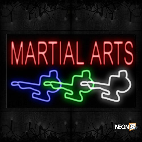 Image of 11294 Martial Arts With Logo Neon Sign_20x37 Black Backing