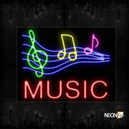 Image of 11297 Musical Notes Logo Neon Sign_24x31 Black Backing