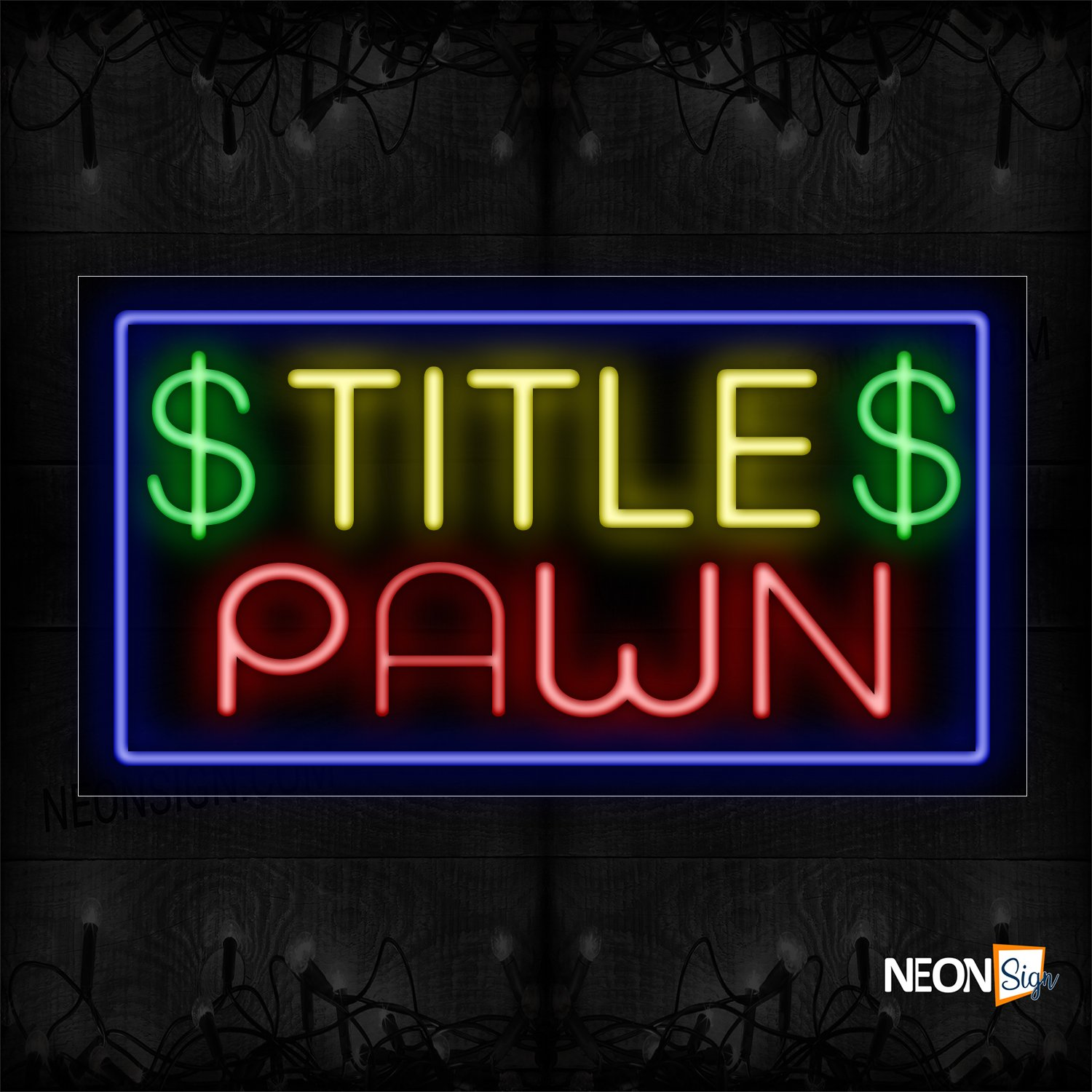 Image of 11308 $ Title $ Pawn With Blue Border Neon Sign_20x37 Black Backing