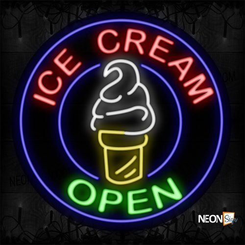 Image of 11324 Ice Cream Open Traditional Neon_26x26 Contoured Black Backing