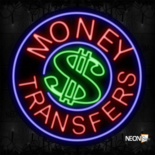 Image of 11330 Round Money Transfer Traditional Neon_26x26 Contoured Black Backing