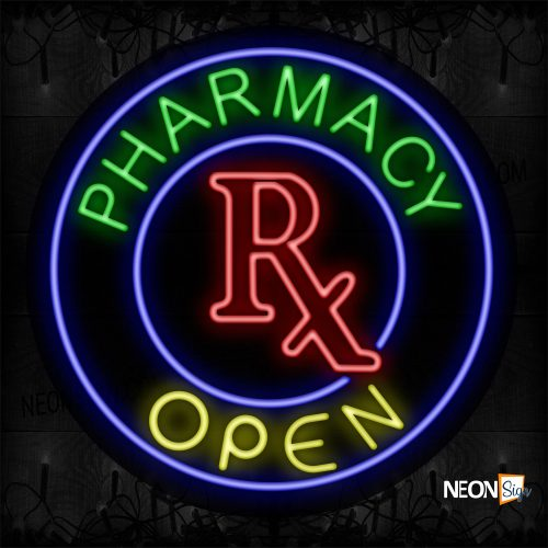 Image of 11333 Pharmacy Rx Open With Circle Border Neon Sign_26x26 Contoured Black Backing