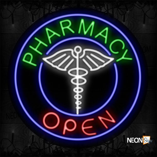 Image of 11334 Pharmacy Open With Logo And Blue Circle Border Neon Sign_26x26 Contoured Black Backing
