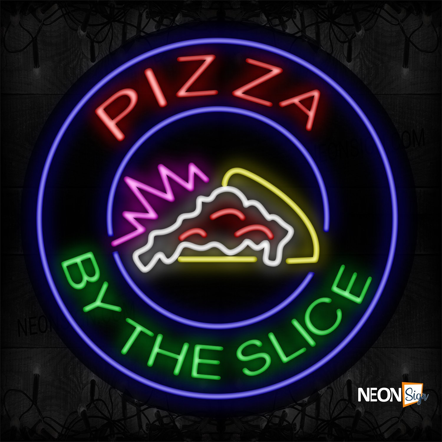 Image of 11335 Pizza By The Slice With Logo And Blue Circle Border Neon Sign_26x26 Contoured Black Backing