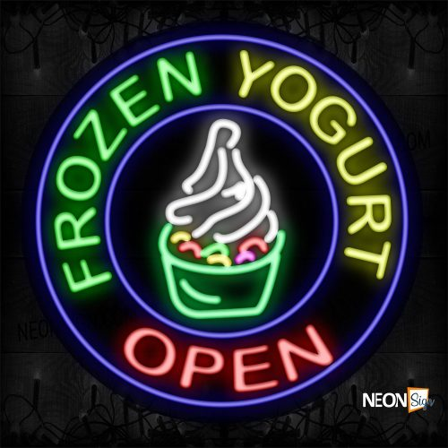 Image of 11344 Frozen Yogurt Open With Logo And Blue Circle Border Neon Signs_26x26 Contoured Black Backing