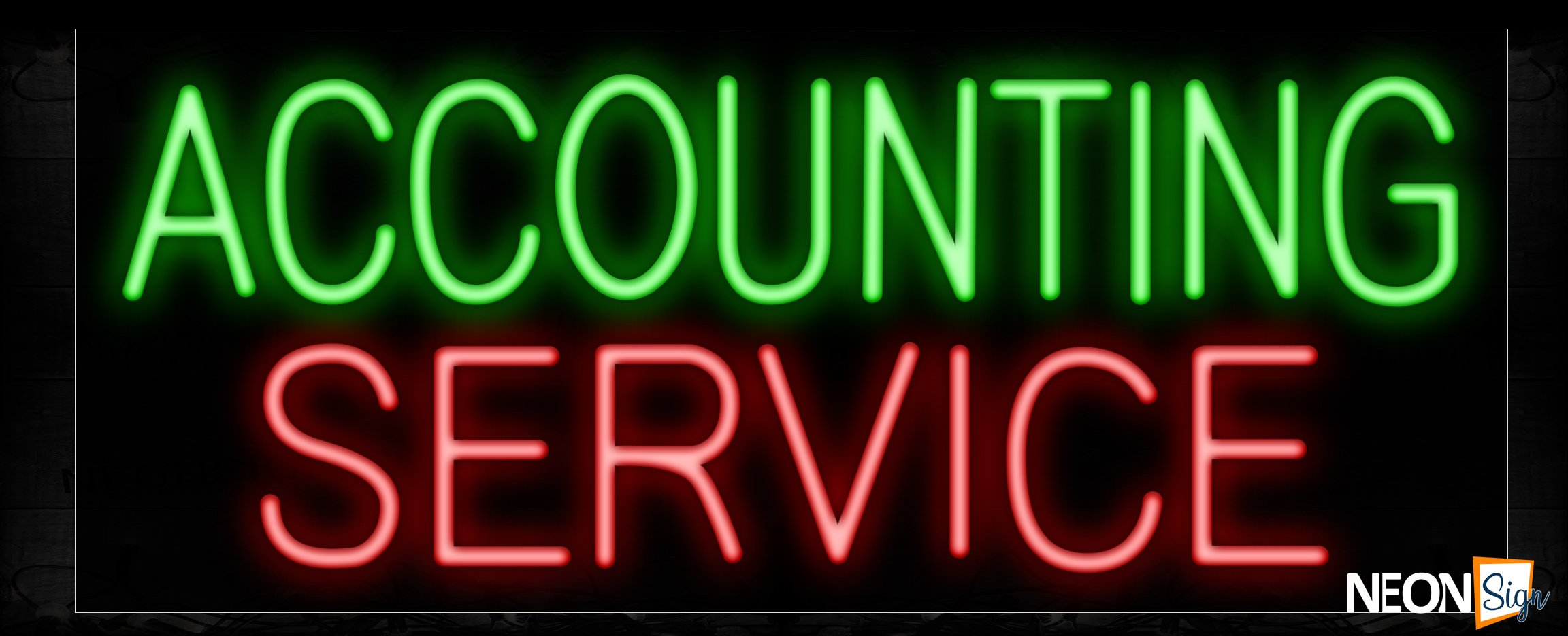 Image of 11345 Accounting Service Neon Sign_13x32 Black Backing
