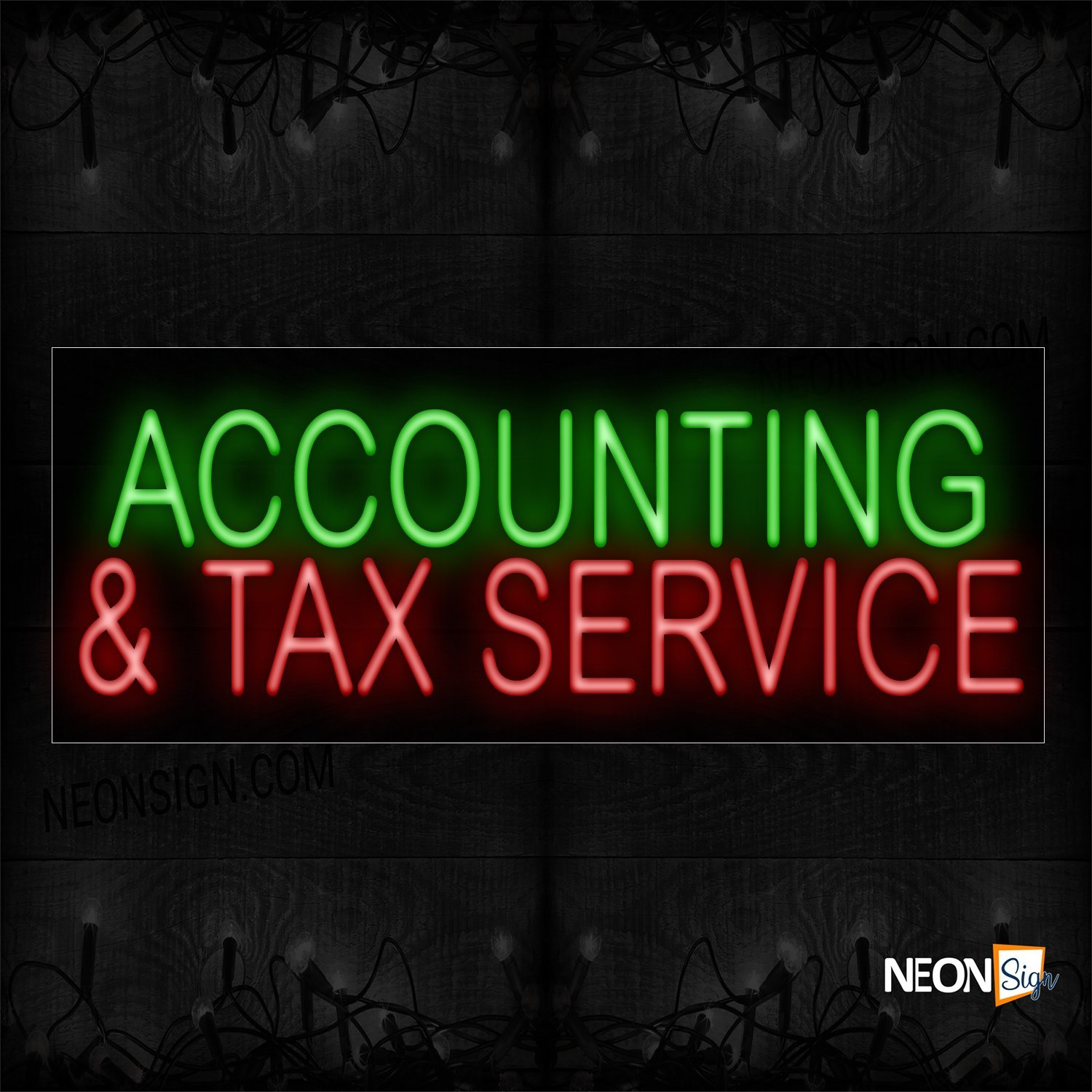 Image of 11346 Accounting & Tax Service Neon Sign_13x32 Black Backing