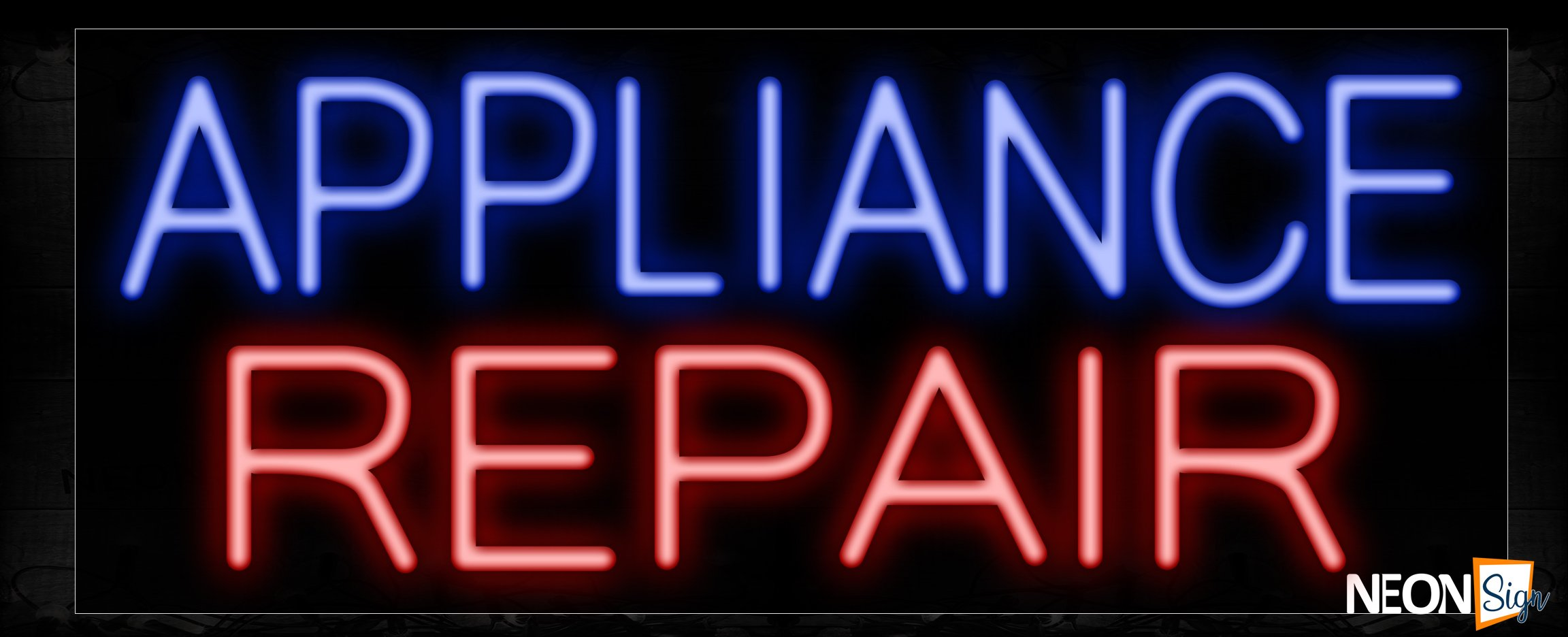 Image of 11350 Appliance Repair 2 Lines And All Caps Text Traditional Neon_13x32 Black Backing
